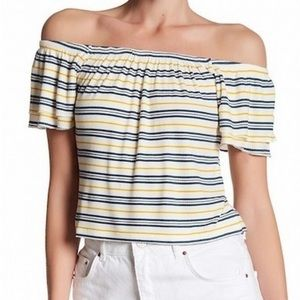 Abound yellow blue stripe off shoulder shirt P